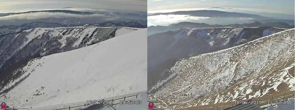 2019_12_16-18_Veľká Fatra, úbytok snehu na Krížnej od 16.12.2019 po 18.12.2019