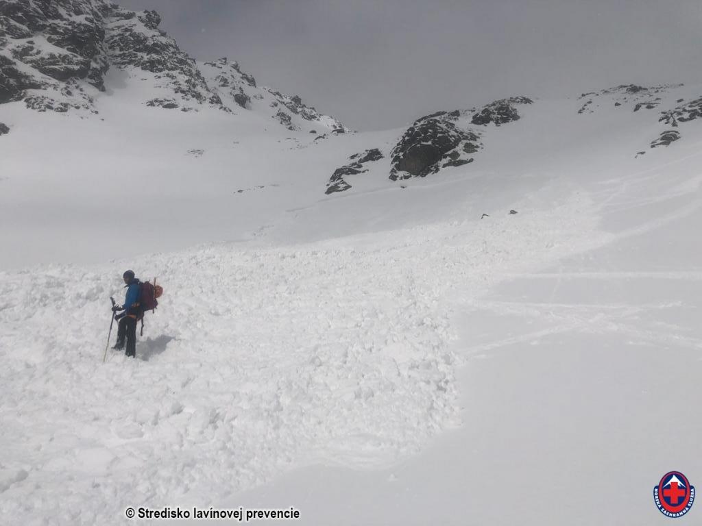 2021-03-19 Vysoké Tatry, lavína uvoľnená malým dodatočným zaťažením